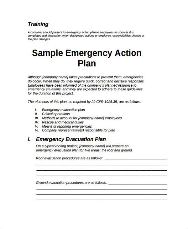 Sample Emergency Action Plan - 7+ Documents in PDF, Word