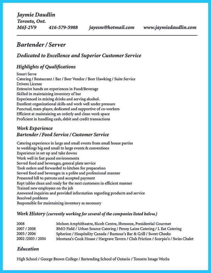 12 best 7/16/2017 bartender resume images on Pinterest | Bartender ...