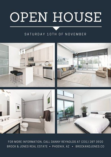 Blue Collage Simple Open House Flyer - Templates by Canva