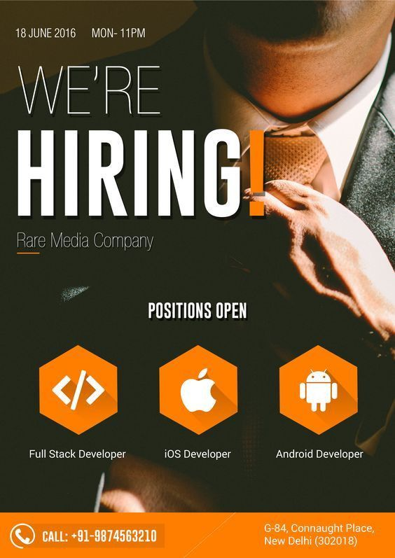 Stylish hiring flyer design template. Click to customize. | Hiring ...