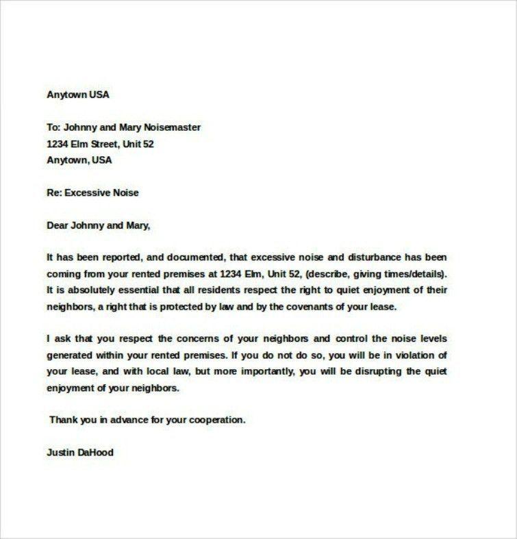 Basic Tenant Noise Complaint Letter Template | TemplateZet