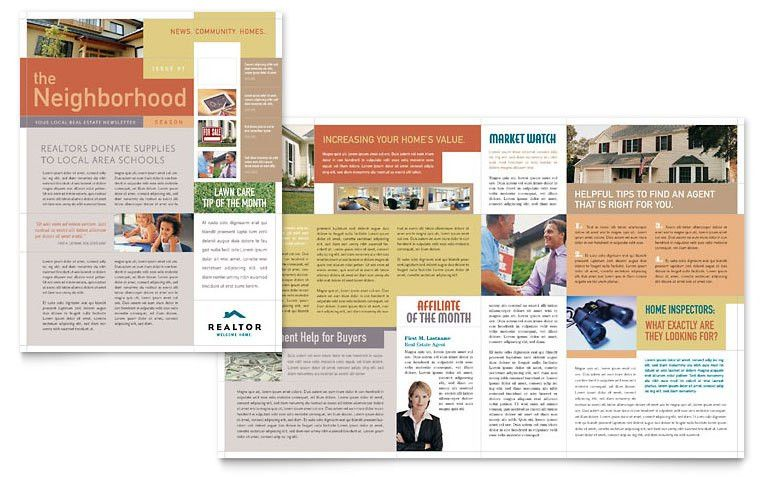 Realtor & Real Estate Agency Newsletter Template - Word & Publisher