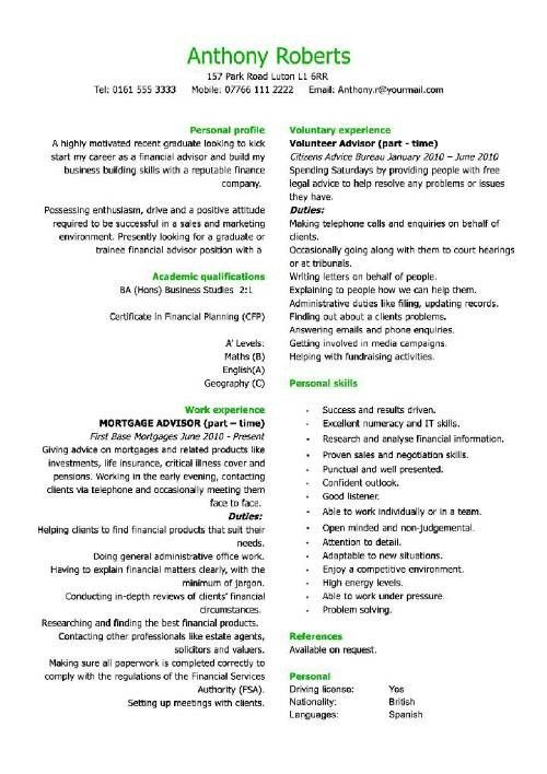 Graduate Cv Template Student Jobs Graduate Jobs Career Sample ...