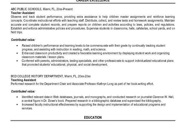 resume for teaching assistant cover letter examples for teacher ...