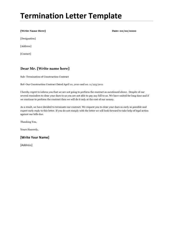 Business Contract Termination Letter For Non-renewal Agreement ...