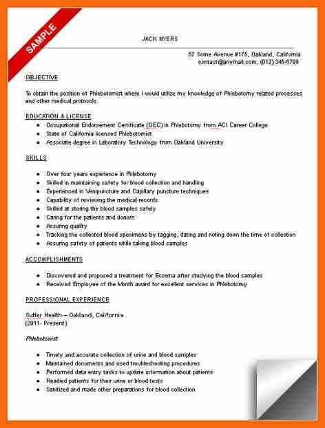 phlebotomy resume sample phlebotomist resume sample download 10