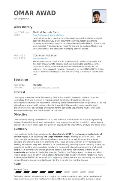 unit clerk objective health unit clerk resume example best sample ...