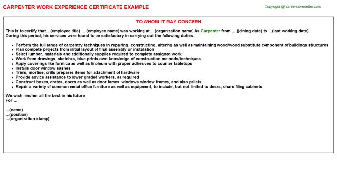 Carpenter Work Experience Certificate