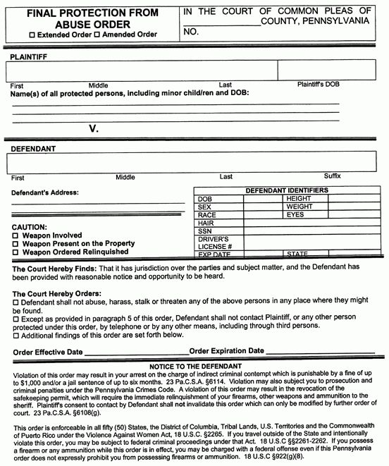 231 Pa. Code Rule 1905. Forms for Use in PFA Actions. Notice and ...