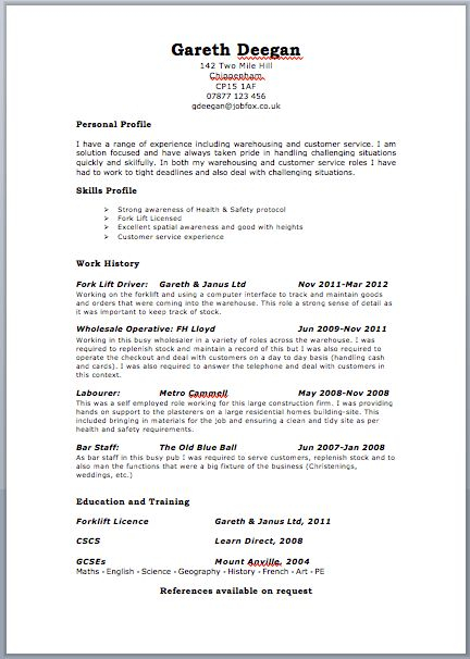 Uk Resume Format | free excel templates