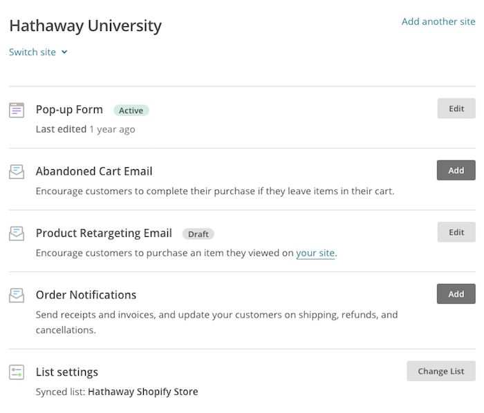 Use MailChimp for Shopify | MailChimp
