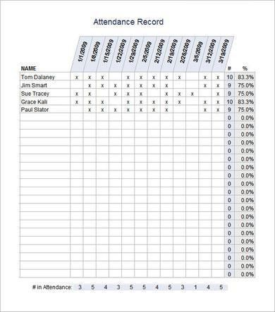 Best Template Design of Weekly Attendance Sheet for Classroom with ...