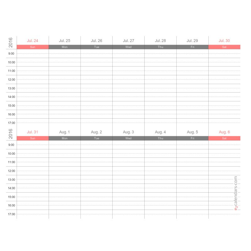 Printable one week appointment calendar, PDF - EzCalendars