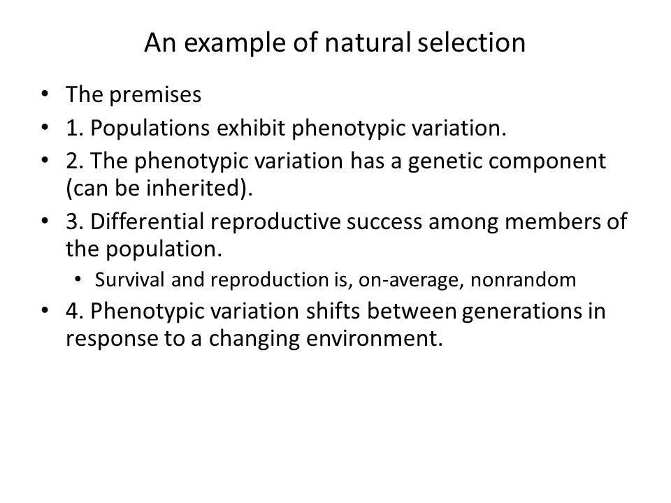 Development of Darwin's idea. An example of natural selection The ...