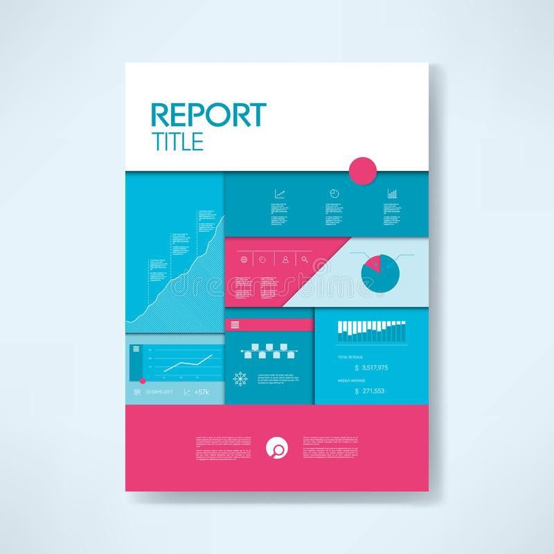 Annual Report Cover Template With Business Icons And Elements. Pie ...