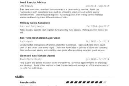 beauty advisor resumes
