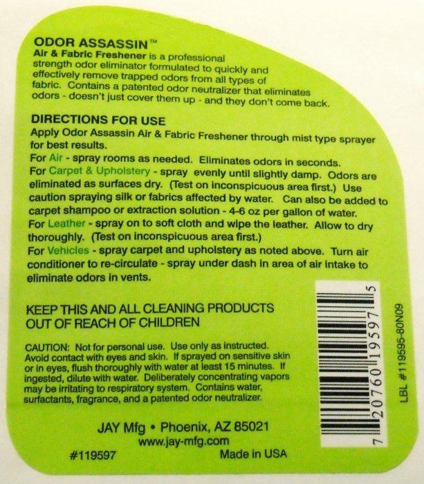 Front & Back 32oz Chemical Spray Bottle Labels | Sample Labels ...