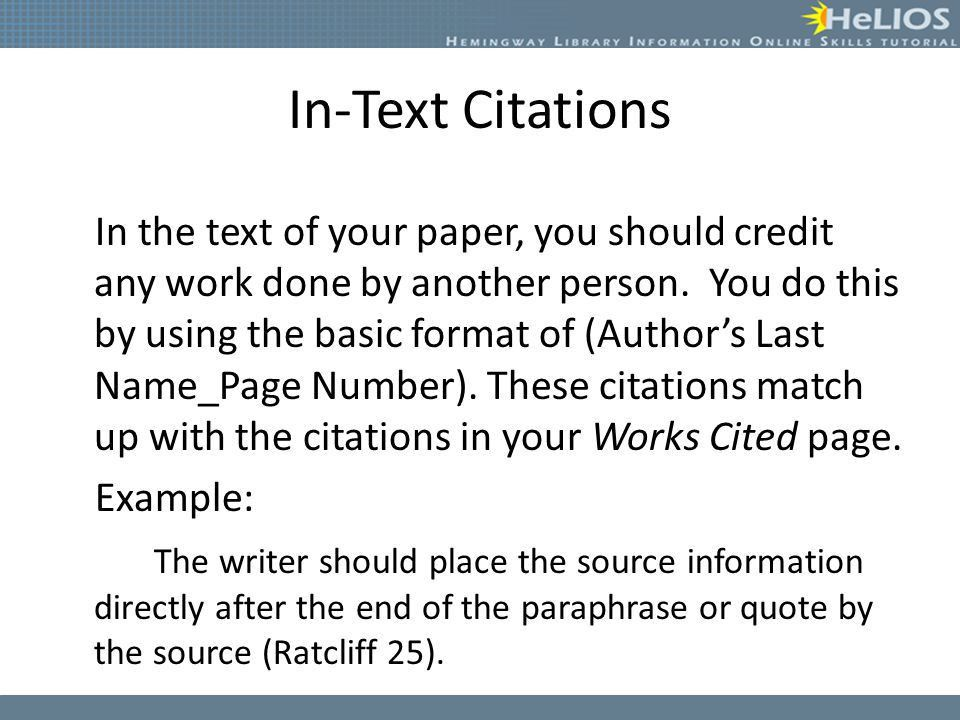Creating Citations Objective: Students will understand how to ...