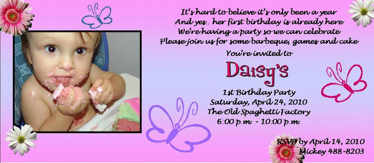 1st Birthday Invitation Sample - vertabox.Com