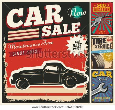 Vintage Retro Stile Sale Car Vector Stock Vector 339998645 ...
