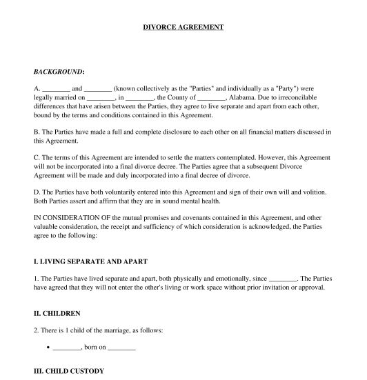 Divorce Agreement - Sample, Template - Word & PDF