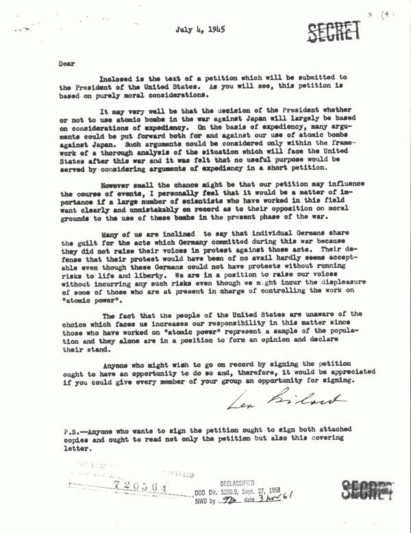 Atomic Bomb: Decision -- Petition cover letter, July 4, 1945