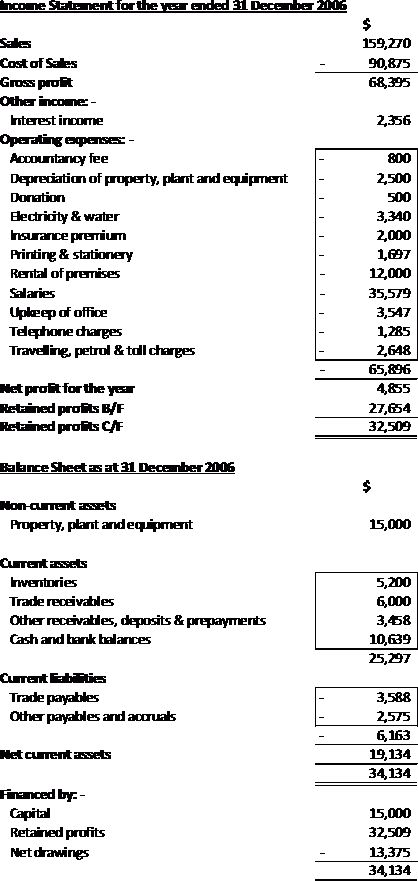 Sole Proprietor – Example of Income Statement and Balance Sheet ...