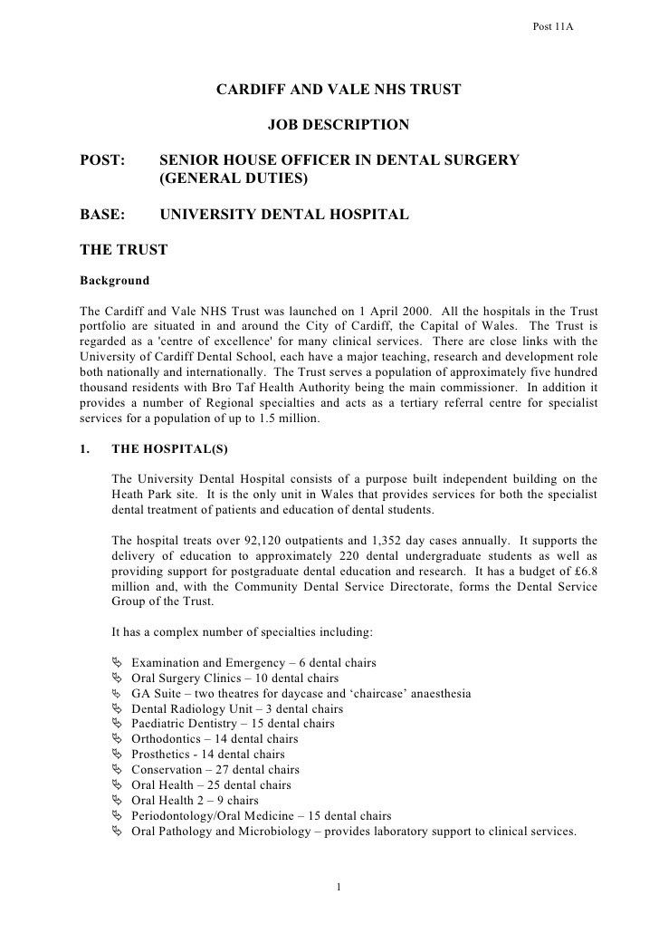 POST: SENIOR HOUSE OFFICER IN DENTAL SURGERY (GENERAL DUTIES)