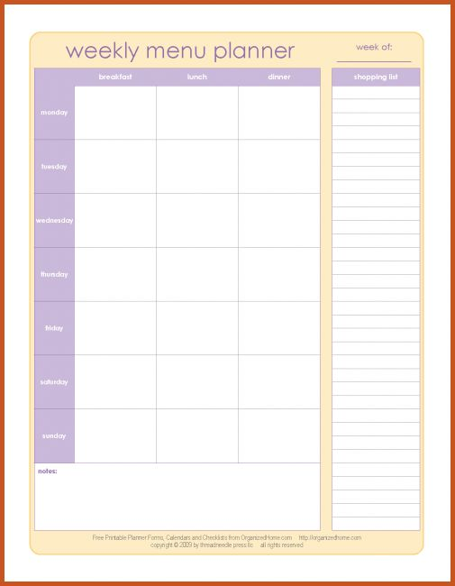 weekly meal plan template | sop example