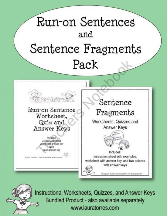 Run-on Sentences and Sentence Fragment Pack product from ...