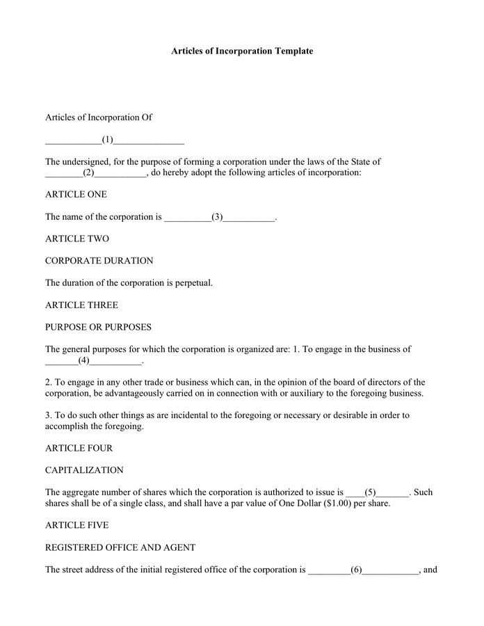 Articles of Incorporation Template - download free documents for ...