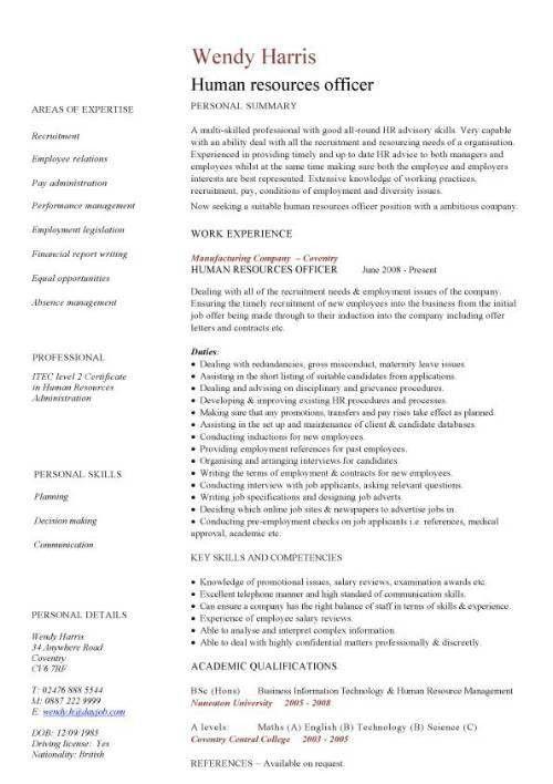 Resume For Hr Administrator. model resume resume cv cover letter ...