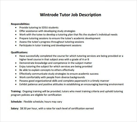 tutor responsibilities advancetutors tutor job description