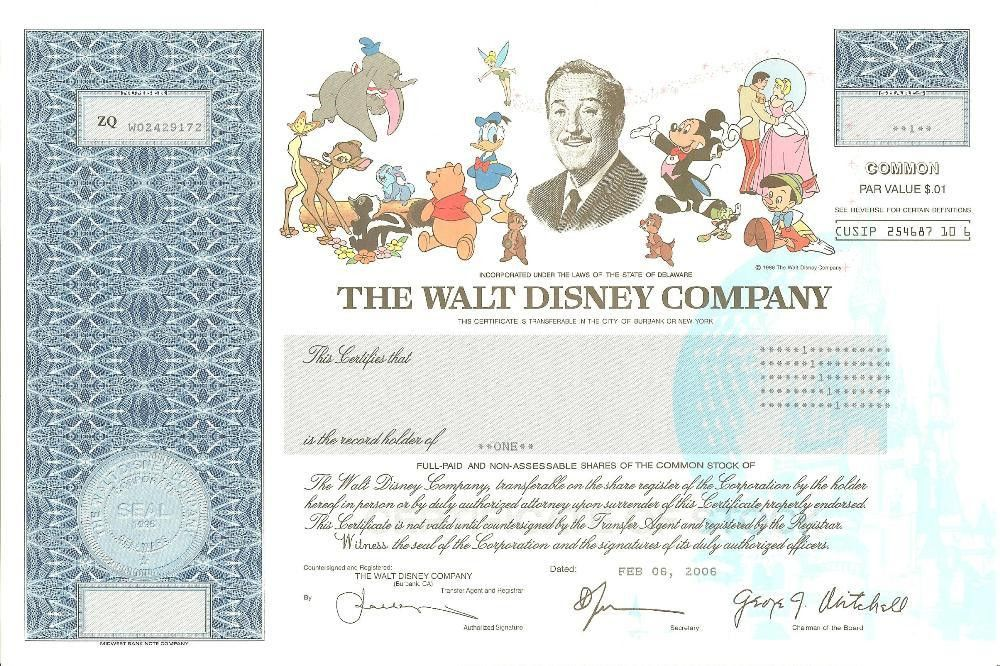 Walt Disney Stock Certificate