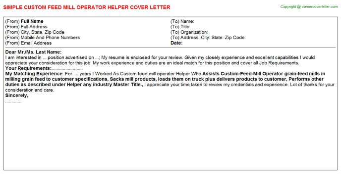 Feed Mill Manager Cover Letters