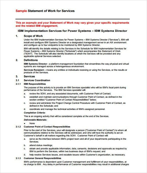 Sample Statement of Work – 7+ Example, Format