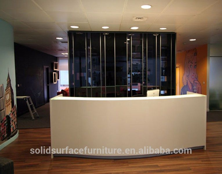 White Simple Modern Office Reception Front Desk Counter Design ...