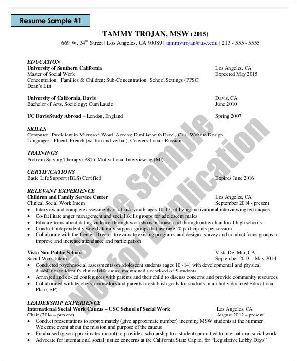 Microsoft Work Resume Template - 8+ Free Word, PDF Documents ...