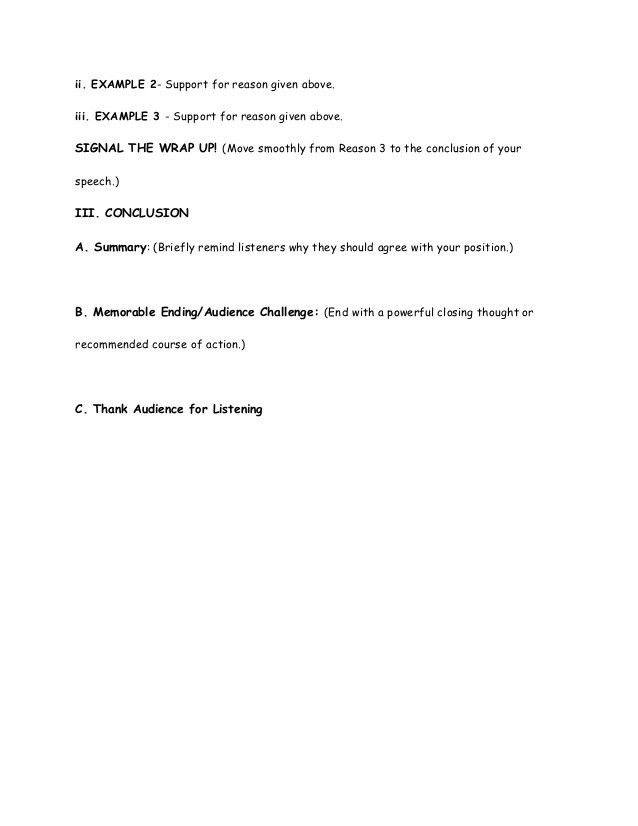 Persuasive speech outline worksheet