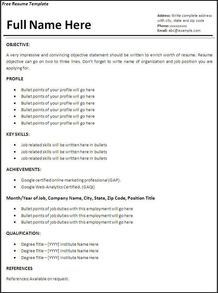 Resume Template Samples. Free Basic Resume Template Basic Resume ...