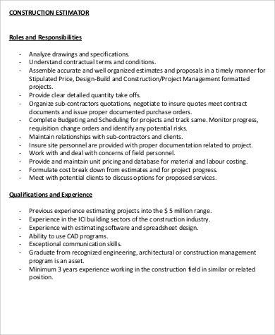 Construction Job Description Sample - 11+ Examples in Word, PDF