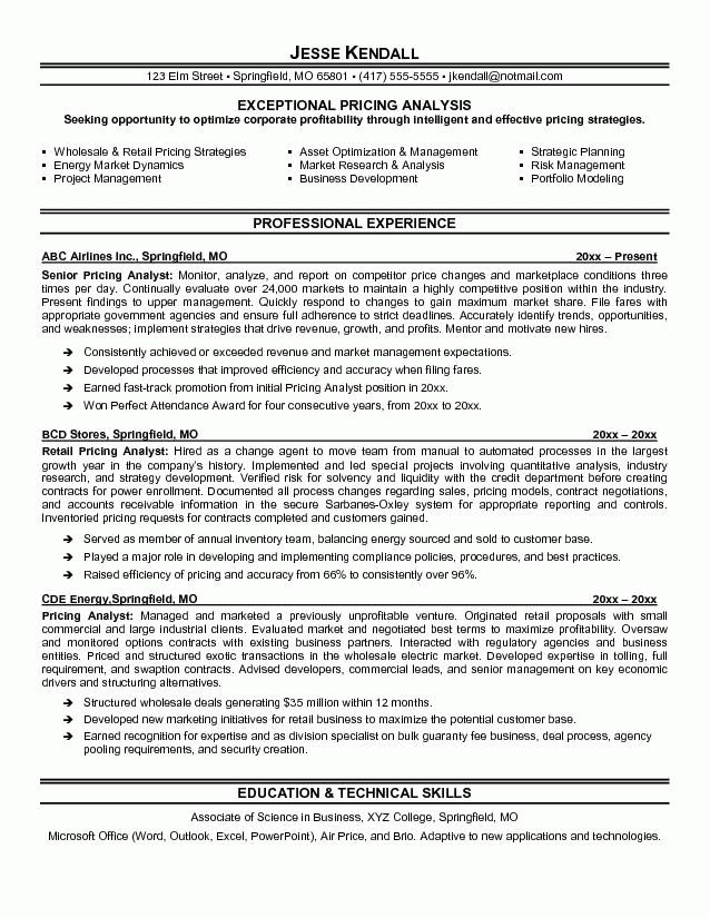 Pricing Analyst Resume Example | Sample of professional resumes ...
