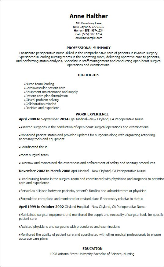 Perioperative Nurse Resume Unforgettable Perioperative Nurse Resume