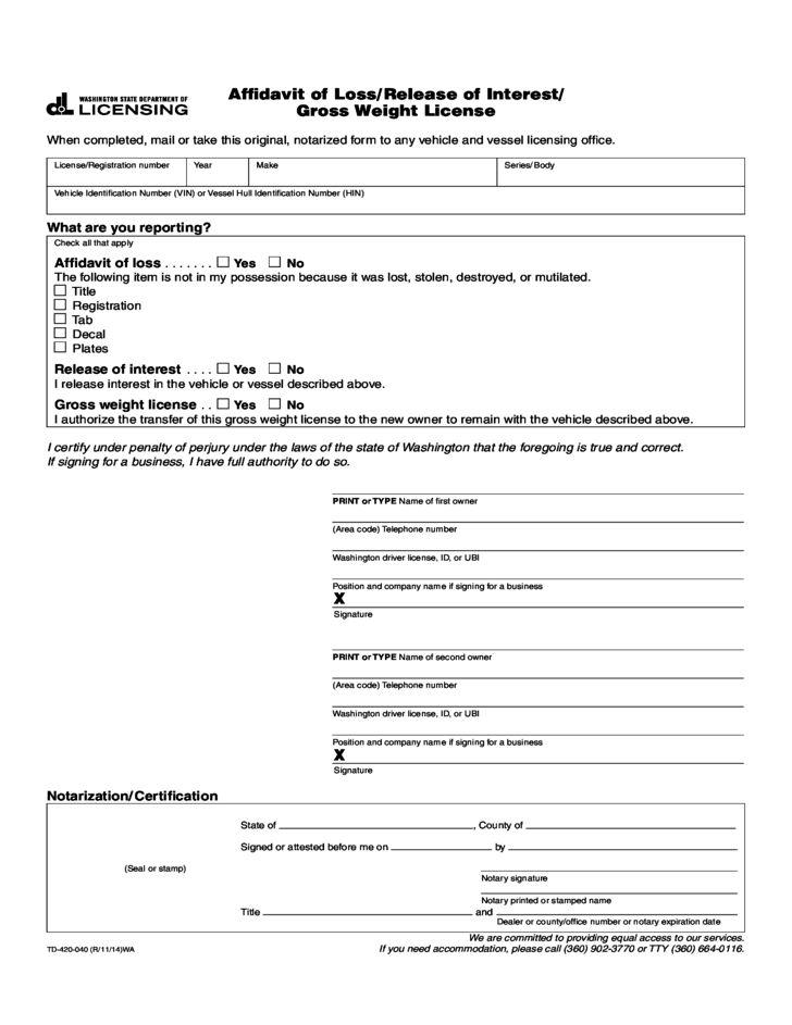 Affidavit of Loss - Washington Free Download