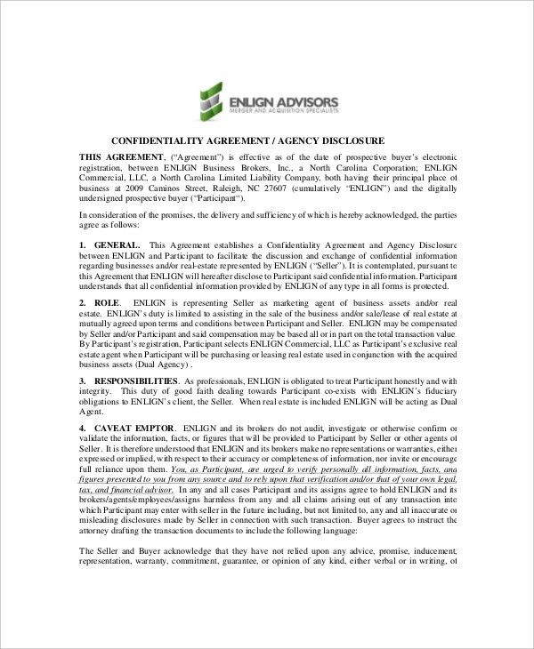 Sample Real Estate Confidentiality Agreement. Printable Sample ...