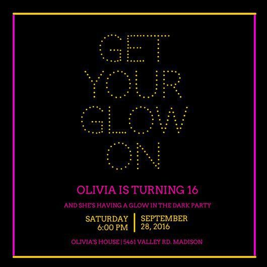Glow in the Dark Party Invitation - Templates by Canva