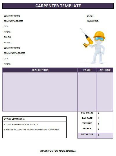 CARPENTER INVOICE TEMPLATE-19 | Carpenter Invoice Templates ...