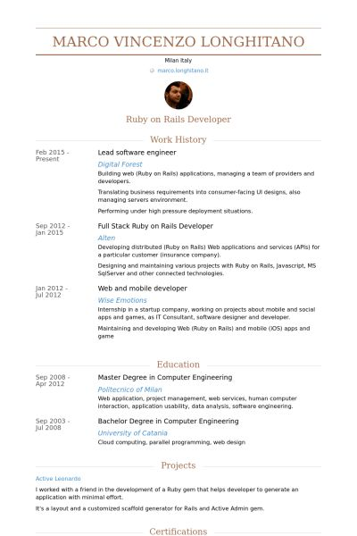 Lead Software Engineer Resume samples - VisualCV resume samples ...
