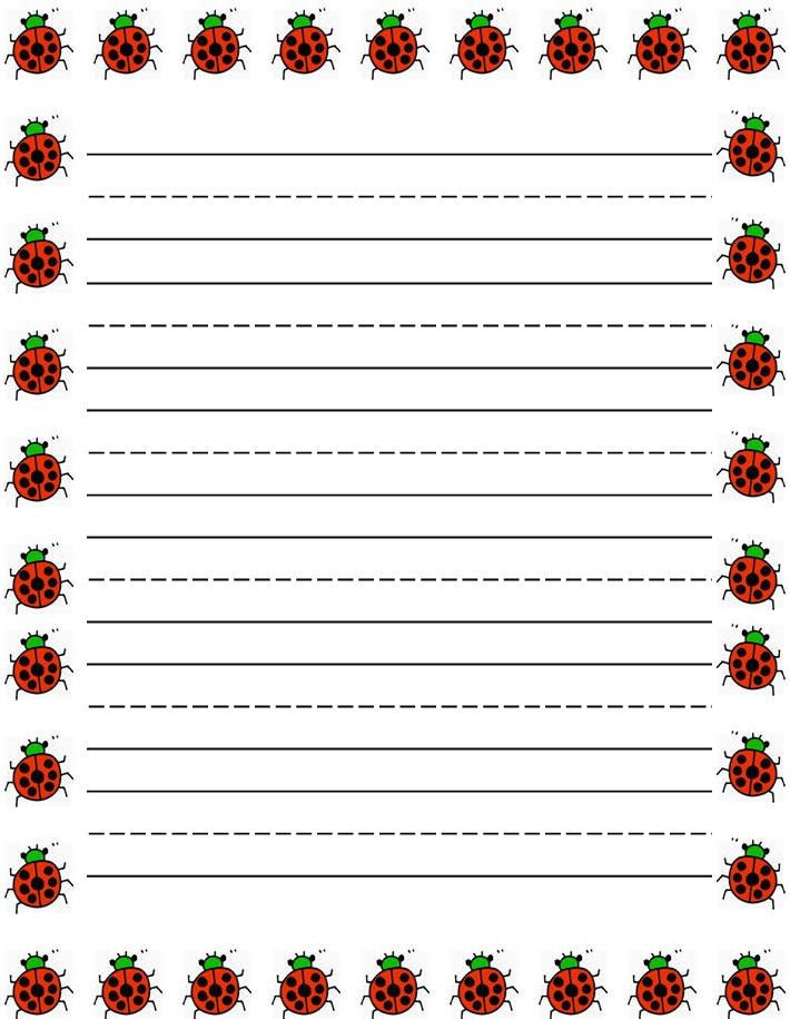 Ladybugs border Free printable kids stationery, free printable ...