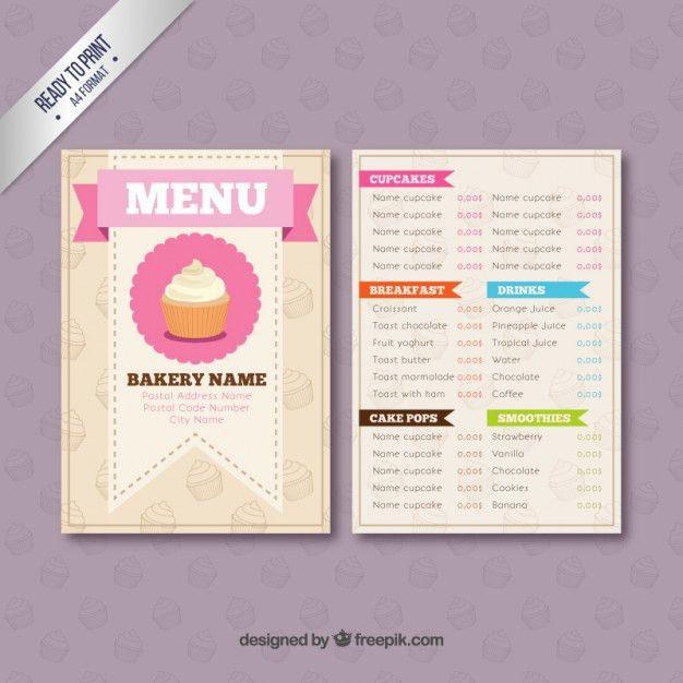 Bakery menu template Vector | Premium Download
